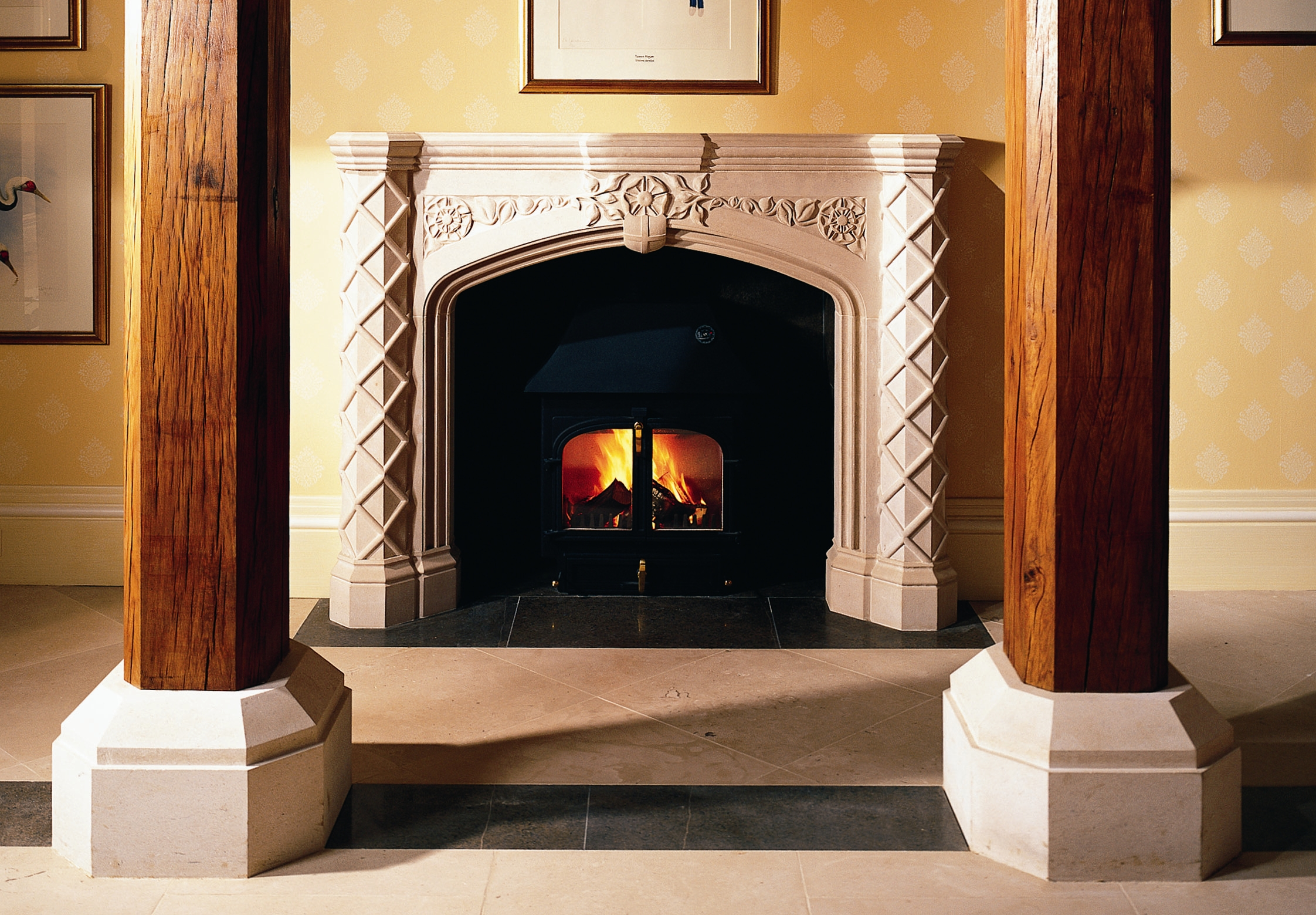 15. Carved Portland stone fireplace, influenced by the refurbished hall's building details – North Yorkshire