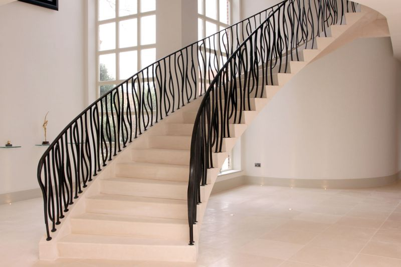 23. Steel-supported contemporary Moleanos stone staircase with matching floor – Hampshire